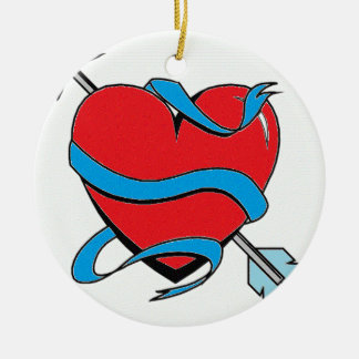 Heart shoots an arrow ceramic ornament