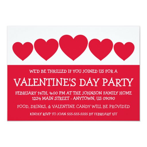 """Heart Silhouette Valetine's Day (Red) 5"""" X 7"""" Invitation Card"""