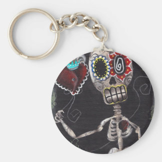 Heart Skeleton Day of the Dead Keychain