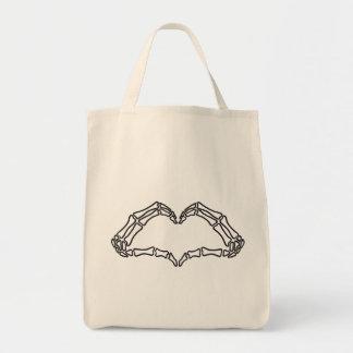 Heart skeleton hand sign tote bag