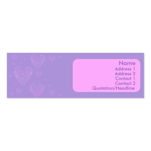Heart Skinny Card Double-Sided Mini Business Cards (Pack Of 20)