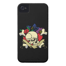 Heart Skull Flower Tattoo iPhone 4/4s Case Iphone 4 Id Covers