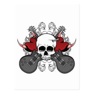 Heart Skull Guitar Postcard
