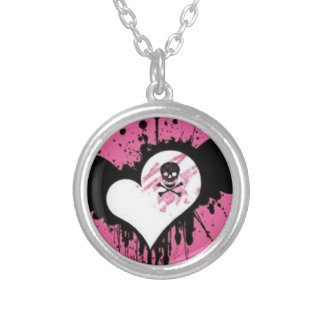 Heart & Skull Pink Round Silver Plated Necklace