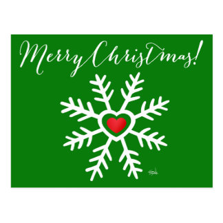 Heart Snowflake Christmas | green Postcard