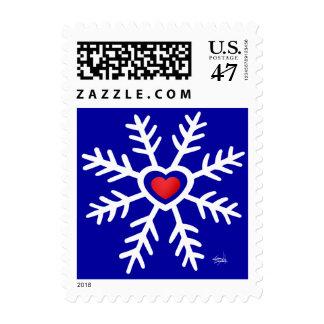 Heart Snowflake Christmas   green Stamp