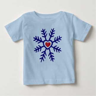 Heart Snowflake Christmas | navy red T-shirt