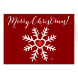 Heart Snowflake Christmas | red Greeting Cards