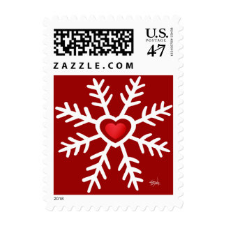Heart Snowflake Christmas | red Postage