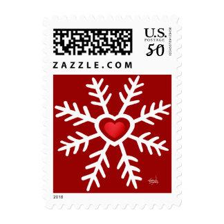 Heart Snowflake Christmas   red Postage