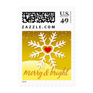 Heart Snowflake Merry and Bright | yellow Postage