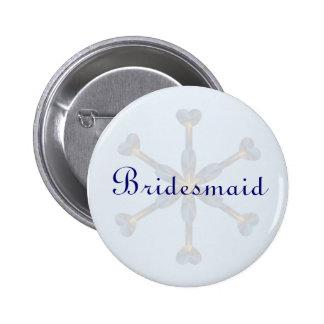 Heart Snowflake Wedding Button