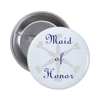 Heart Snowflake Wedding Pinback Button