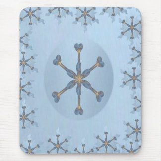 Heart Snowflake with Border Mouse Pad
