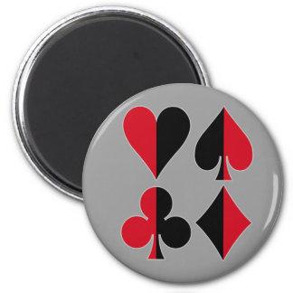 Heart Spade Diamond Club 2 Inch Round Magnet