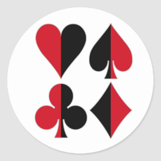 Heart Spade Diamond Club Classic Round Sticker