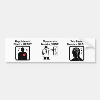 Heart Spine Brain Bumper Sticker