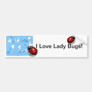 Heart spots lady bug blue floral bumper sticker