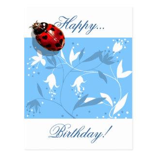 Heart spots ladybug lady bug blue floral card