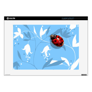 "Heart spotted lady bug blue floral lap top decal decal for 15"" laptop"