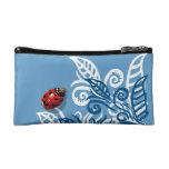 heart spotted ladybug blue leaf bag purse baggett cosmetic bags