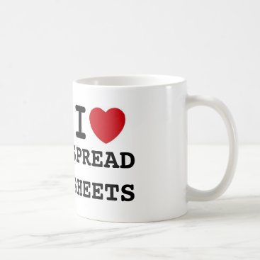 Valentines Themed heart, SPREADSHEETS, I Coffee Mug