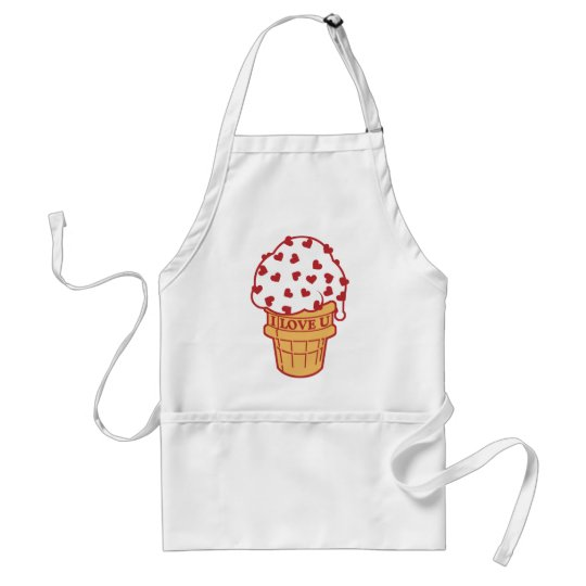 Heart Sprinkle Ice Cream Cone Adult Apron