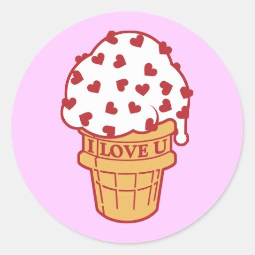 Heart Sprinkle Ice Cream Cone Classic Round Sticker