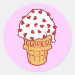 Heart Sprinkle Ice Cream Cone Round Sticker