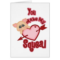 Heart Squeal Pig Valentine Card