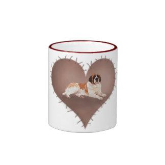 Heart St Bernard Ringer Coffee Mug
