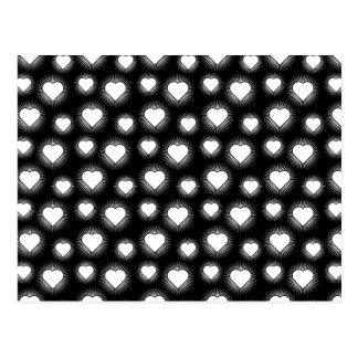 Heart Starburst 2 Black and White Postcard