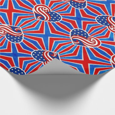 USA Themed Heart Stars and Stripes in Red White and Blue Wrapping Paper