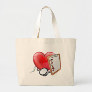 Heart Stethoscope Clipboard Medical Concept Large Tote Bag