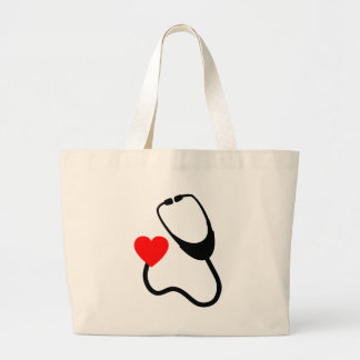 Heart Stethoscope Large Tote Bag