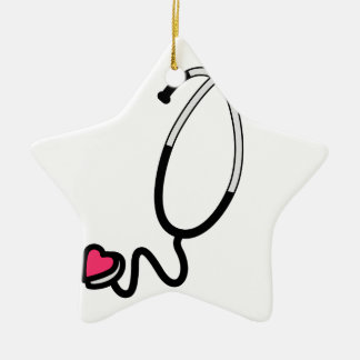 Heart Stethoscope Double-Sided Star Ceramic Christmas Ornament