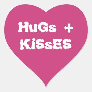Heart sticker pink hug kisses