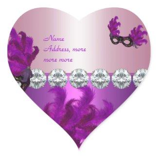 Heart Sticker Purple Pink Diamond Feathers sticker