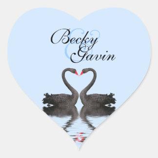 Heart Sticker Seal Romancing Swans