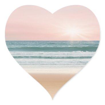 Beach Themed heart sticker sunset blue rose beach