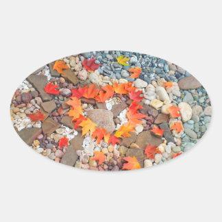 Heart stickers Autumn Leaves Rock Garden