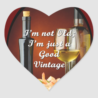 Heart Stickers for Baby Boomer Wine Lovers