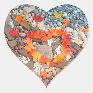 Heart Stickers Heart Shape Autumn Leaves Heart Heart Sticker