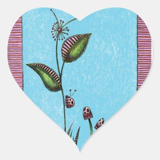 Heart Stickers, Ladybug Flower Mushrooms Heart Sticker