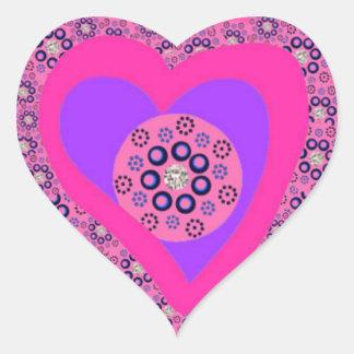 Heart Stickers pink diamonds hearts
