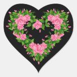 Heart Stickers-Pink Roses Heart Sticker
