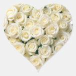 Heart Stickers-White Roses Heart Sticker