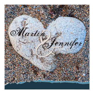 Heart Stone in Sand Blue Turquoise Beach Wedding Card