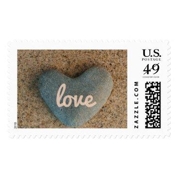 Beach Themed Heart Stone on Beach Pink Blush Love Inscription Postage
