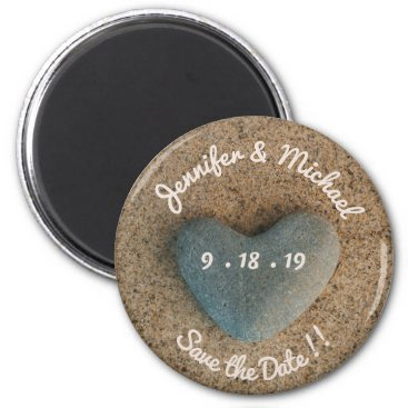 Beach Themed Heart Stone on Beach Save the Date in Pink Blush Magnet